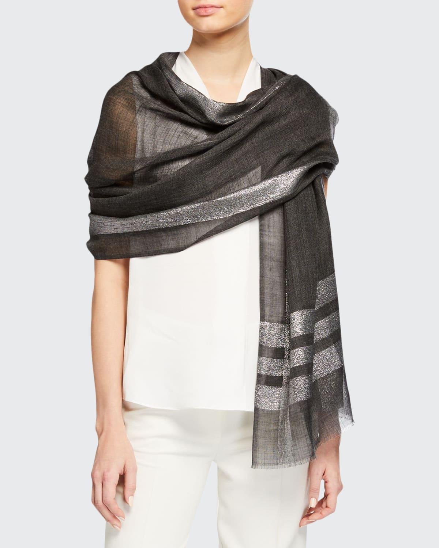 Lurex Colorblock Wool-Blend Stole