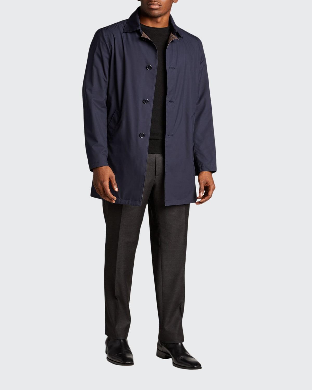 Men's Silk Rain System Raincoat w/ Lamb Leather