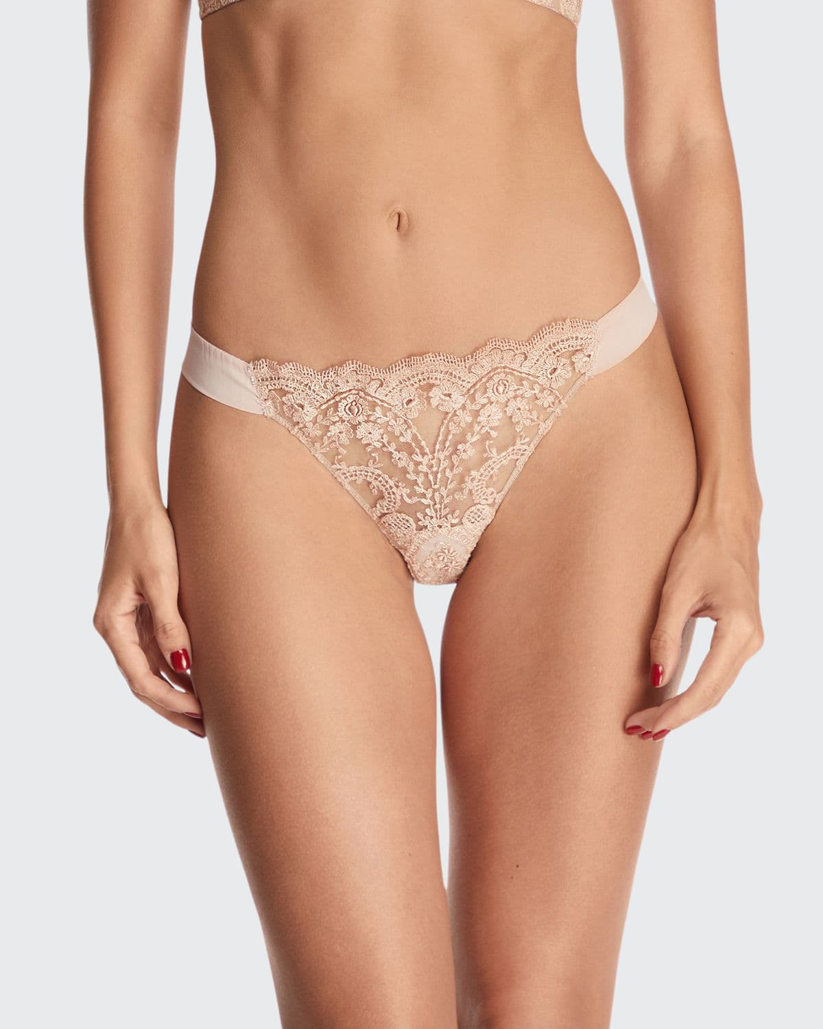 à La Rose Embroidered Thong