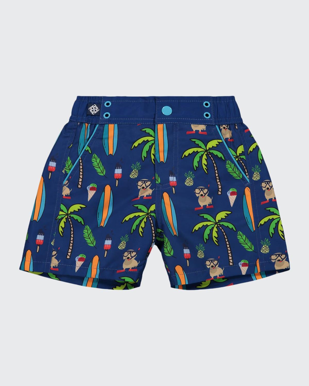 Boy's Beach Print Swim Shorts