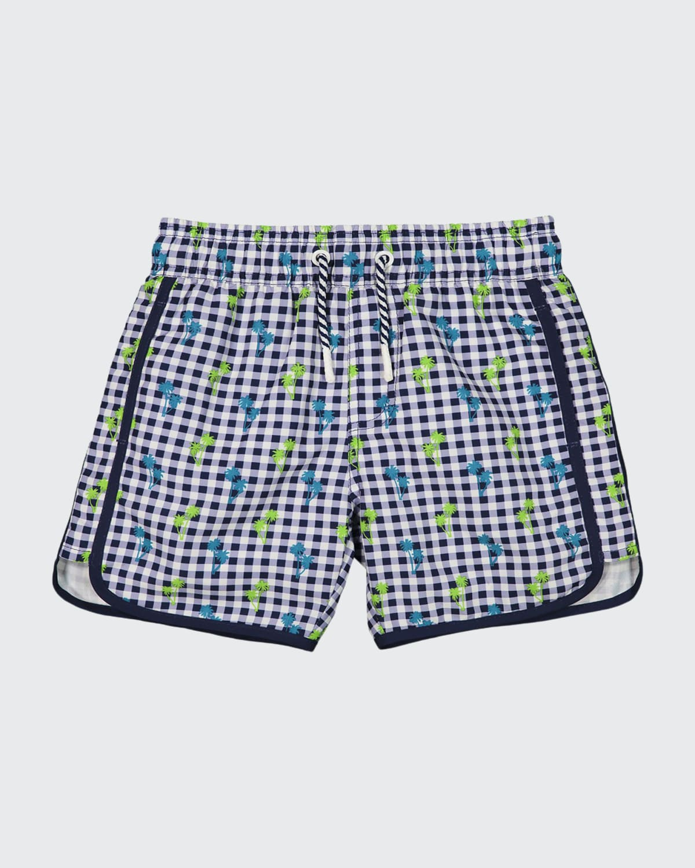 Boy's Gingham Palm Tree Print Swim Shorts
