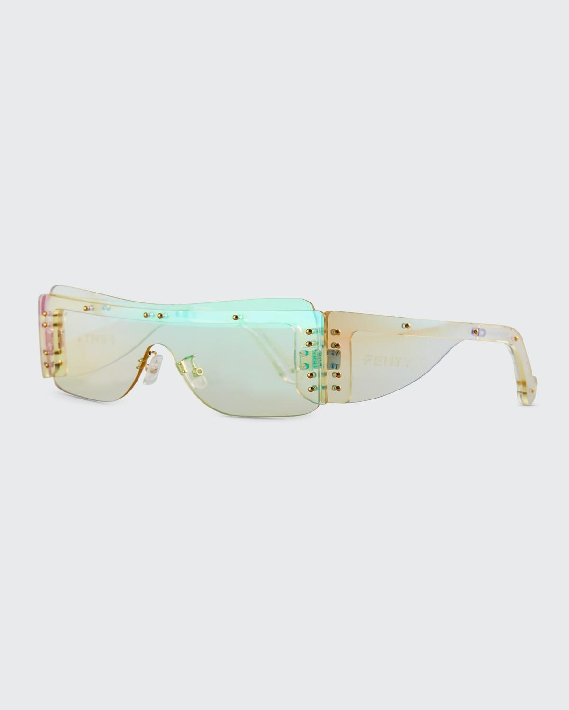 Iridescent Rimless Shield Sunglasses
