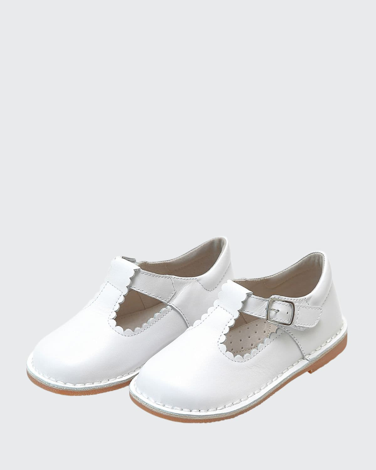 Selina Scalloped T-Strap Leather Mary Janes