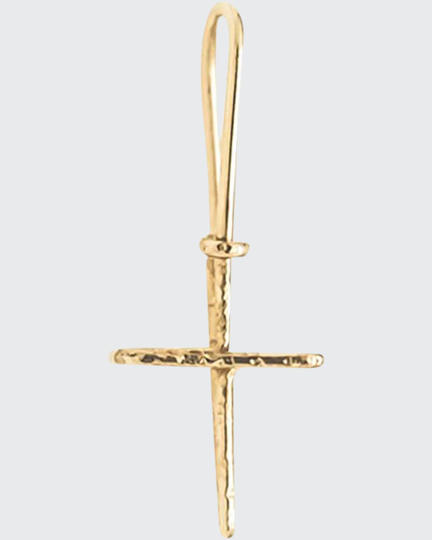18k Wire Cross Charm Earring