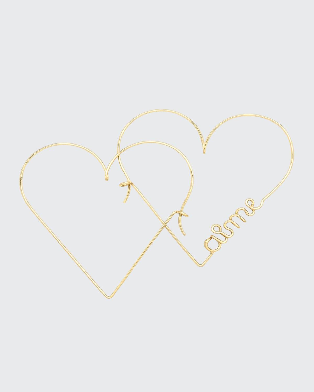 Pair Of Mini Heart Aime Hoop Earrings