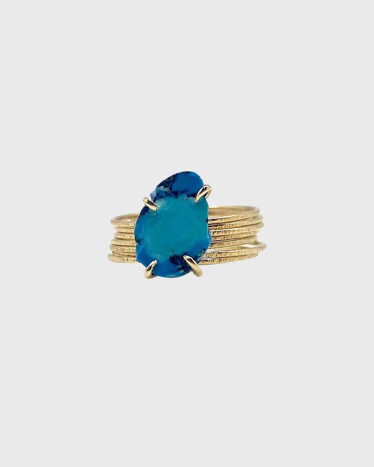 18k Yellow Gold 7-Band Raw Turquoise Ring