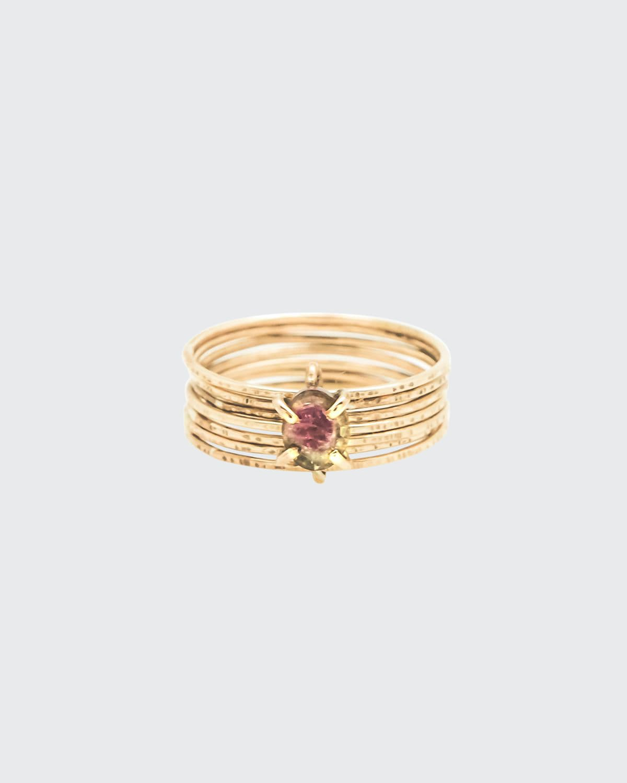 18k Yellow Gold 7-Band Raw Tourmaline Ring