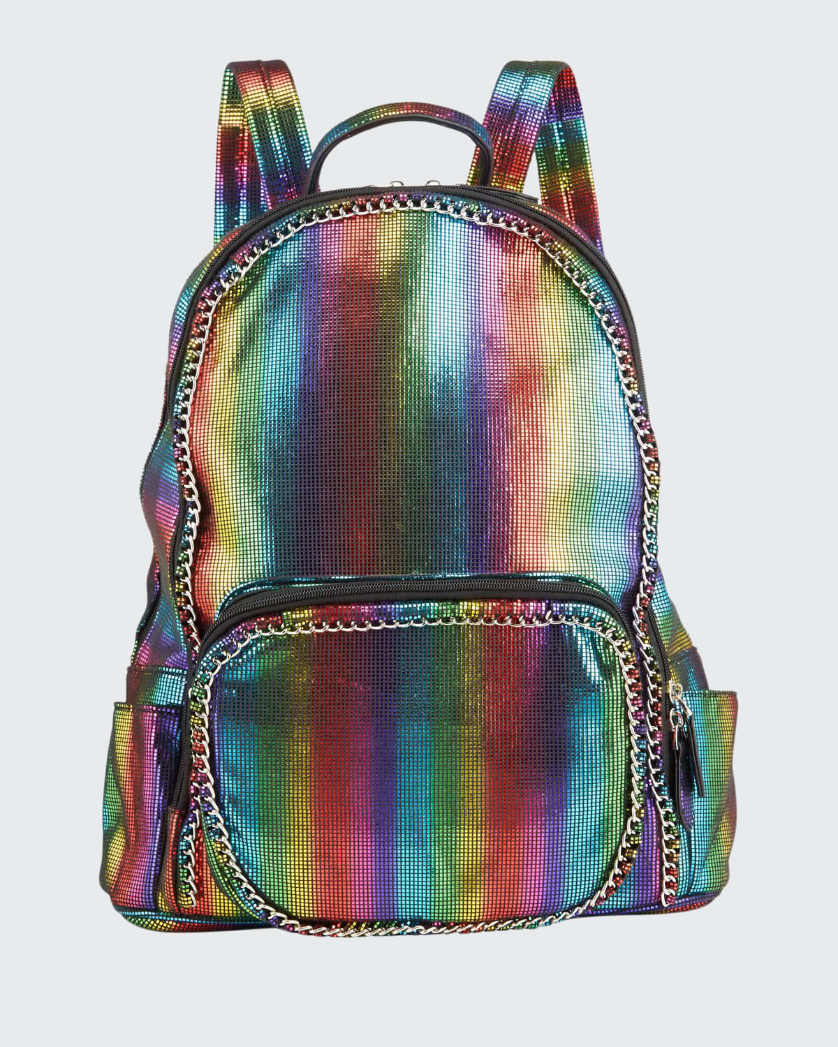 Girl's Chained Rainbow Striped Metallic Backpack