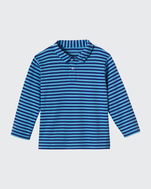 Boy's Henry Long-Sleeve Striped Polo Shirt