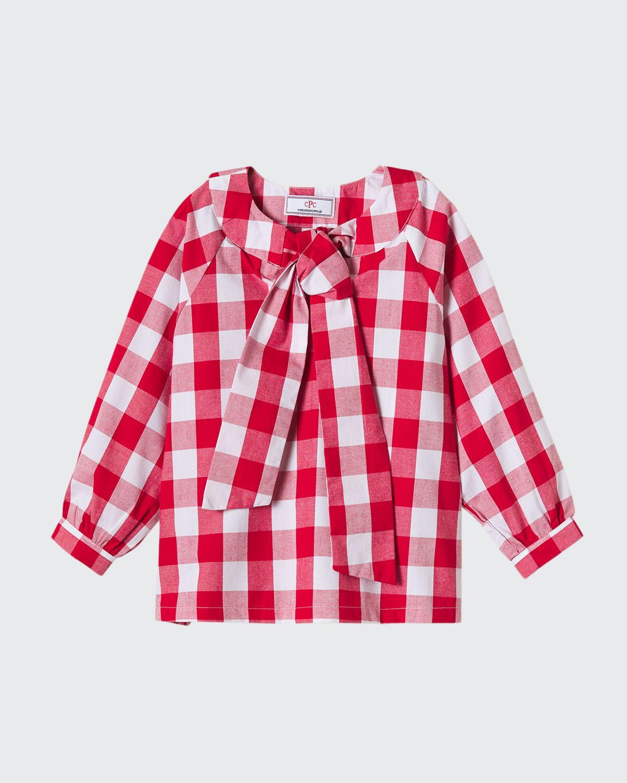 Girl's Becca Gingham Neck-Tie Shirt