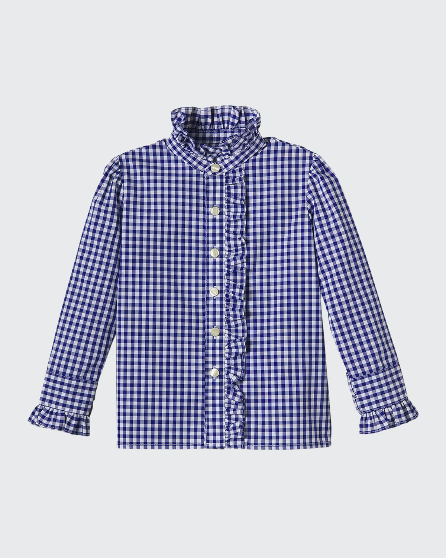 Girl's Ginny Gingham Ruffle Button-Front Shirt