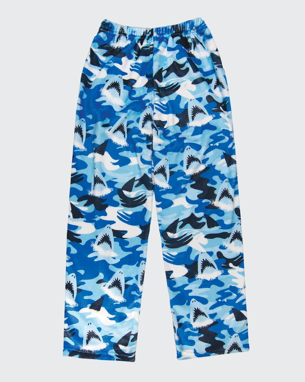 Boy's Shark Printed Plush Straight-Leg Pants