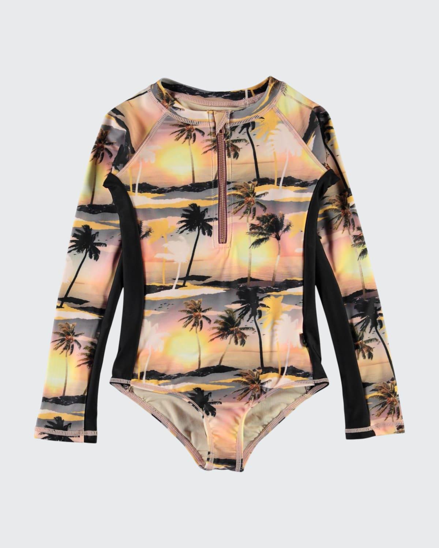 Girl's Necky Printed Long-Sleeve Swimsuit