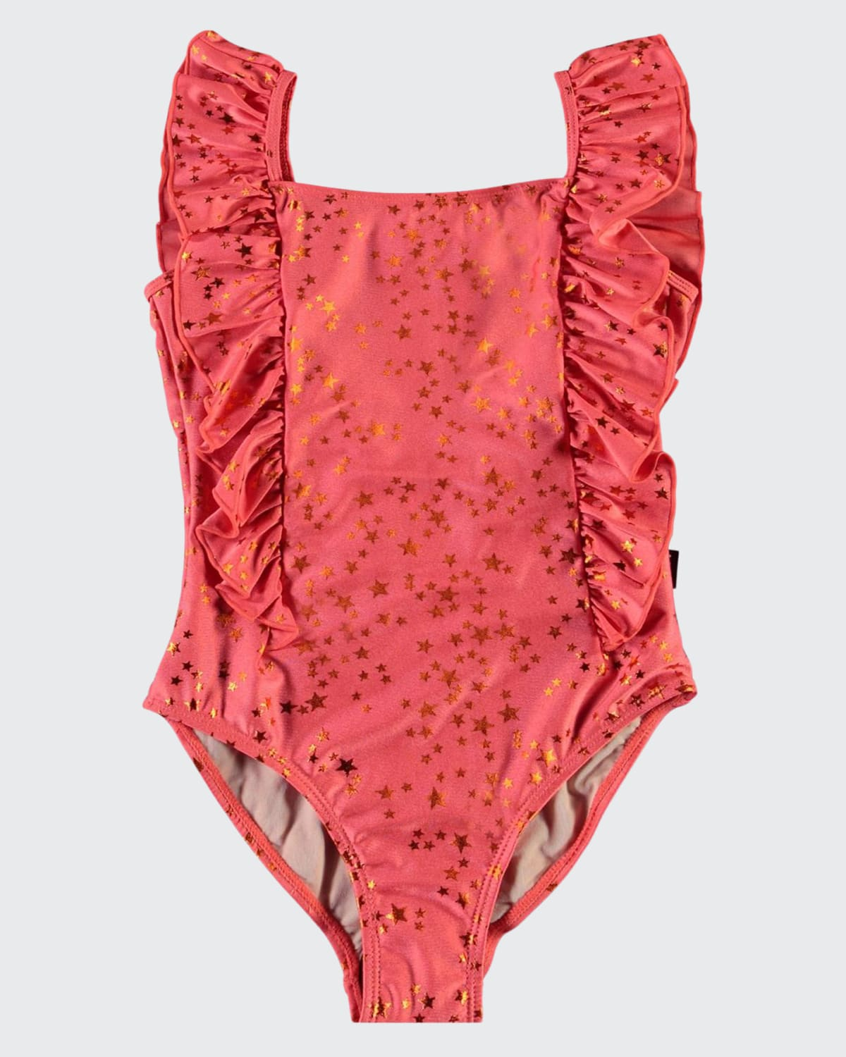 Girl's Nathalie Star Printed Ruffle One-Piece Swimsuit
