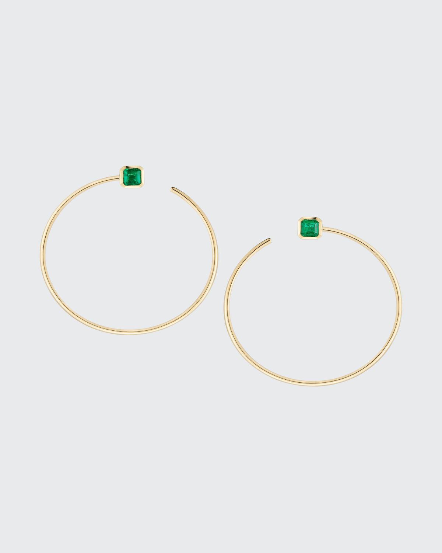 Gold Prive Front To Back Hoops w/ Bezel Set Fine Zambian Emeralds 1.5 In Diameter