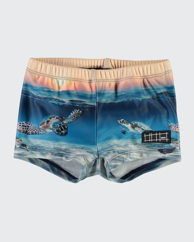 Boy's Nansen Turtle Printed Swim Trunks