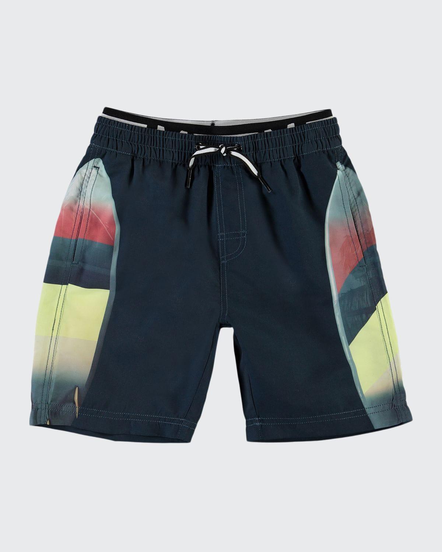 Boy's Neal Surf Board Printed Swim Shorts