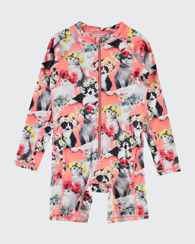 Girl's Neka Printed Long-Sleeve UV Swimsuit