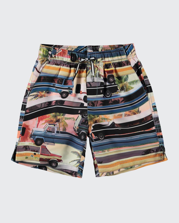 Boy's Nario Car-Truck Printed Swim Shorts