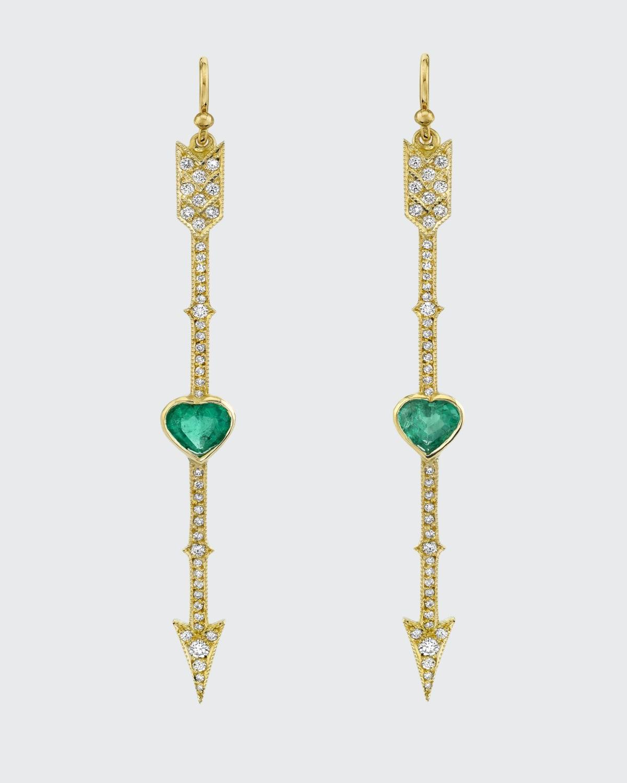 Diamond Arrow Emerald Heart Earrings