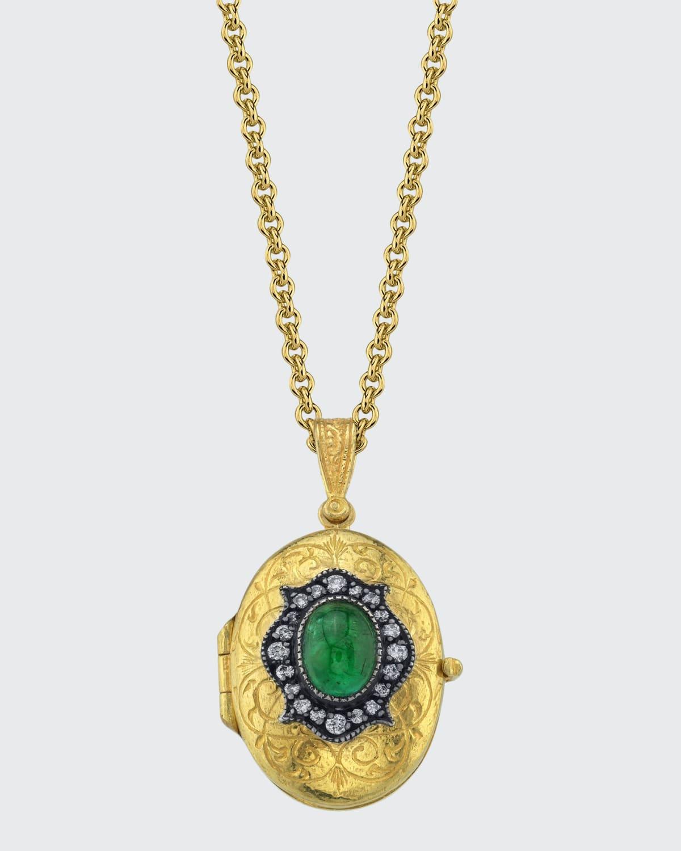 La Fleur Oval Locket Necklace with Emerald
