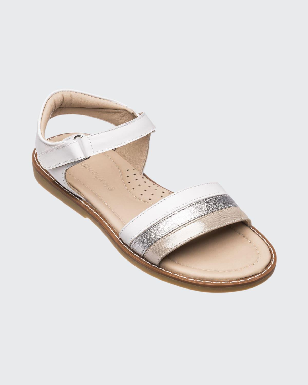 Girl's Missy Metallic Leather Grip-Strap Sandals