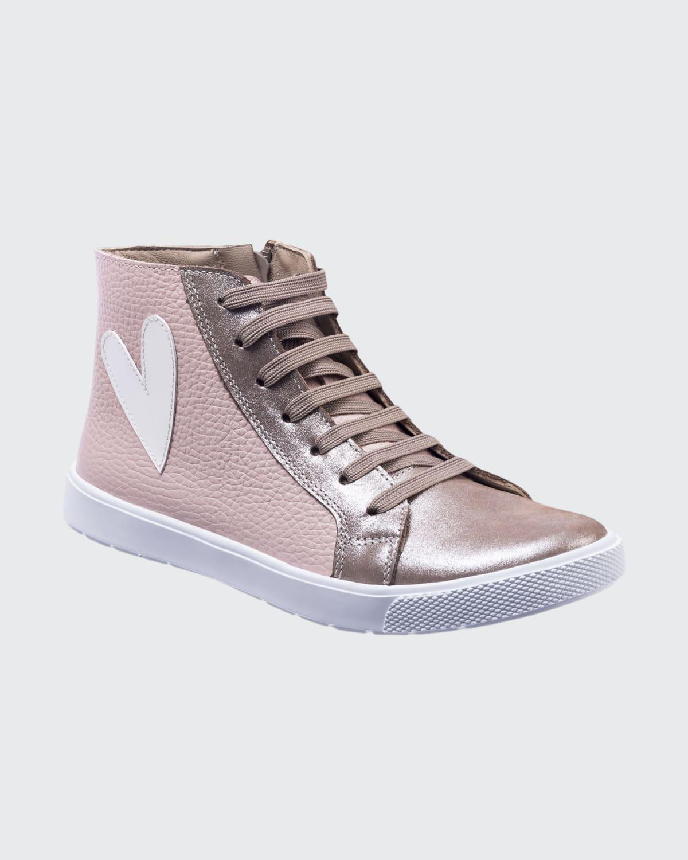 Girl's The Rockstar Metallic Leather High-Top Sneakers
