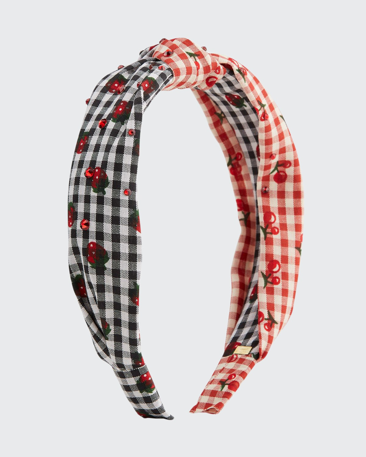 Girl's Two-Tone Cherry Gingham Knotted Headband