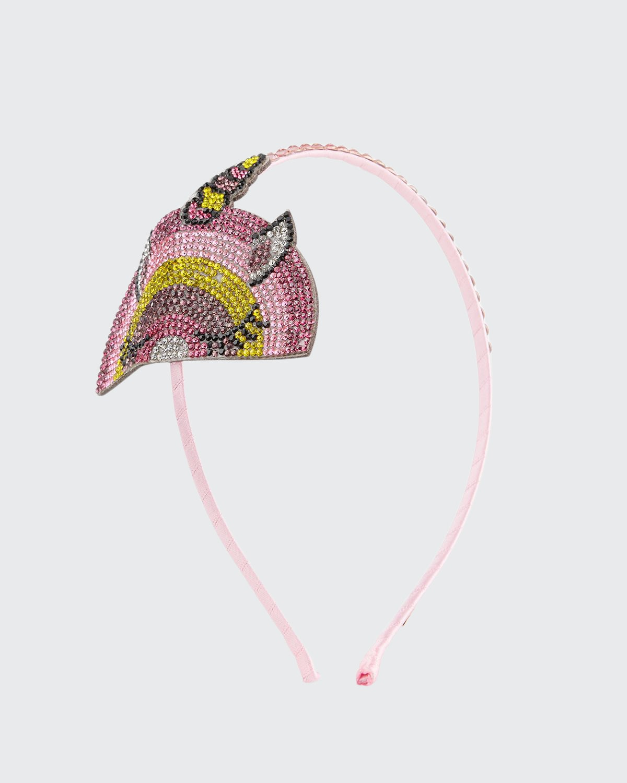 Girl's Crystal-Embellished Winking Unicorn Headband