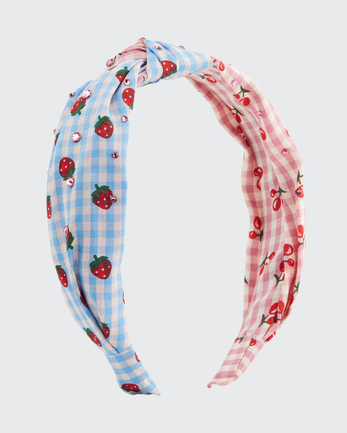 Girl's Gingham Cherry-Print Crystal Knotted Headband