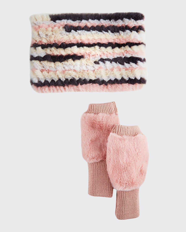 Faux-Fur Cowl & Mittens Gift Set
