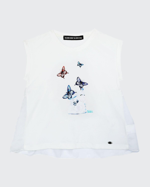 Girl's Butterfly-Print Sleeveless Top
