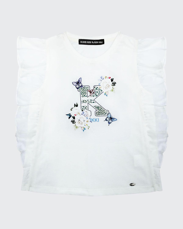 Girl's K Floral-Print Ruffle Sleeveless Top