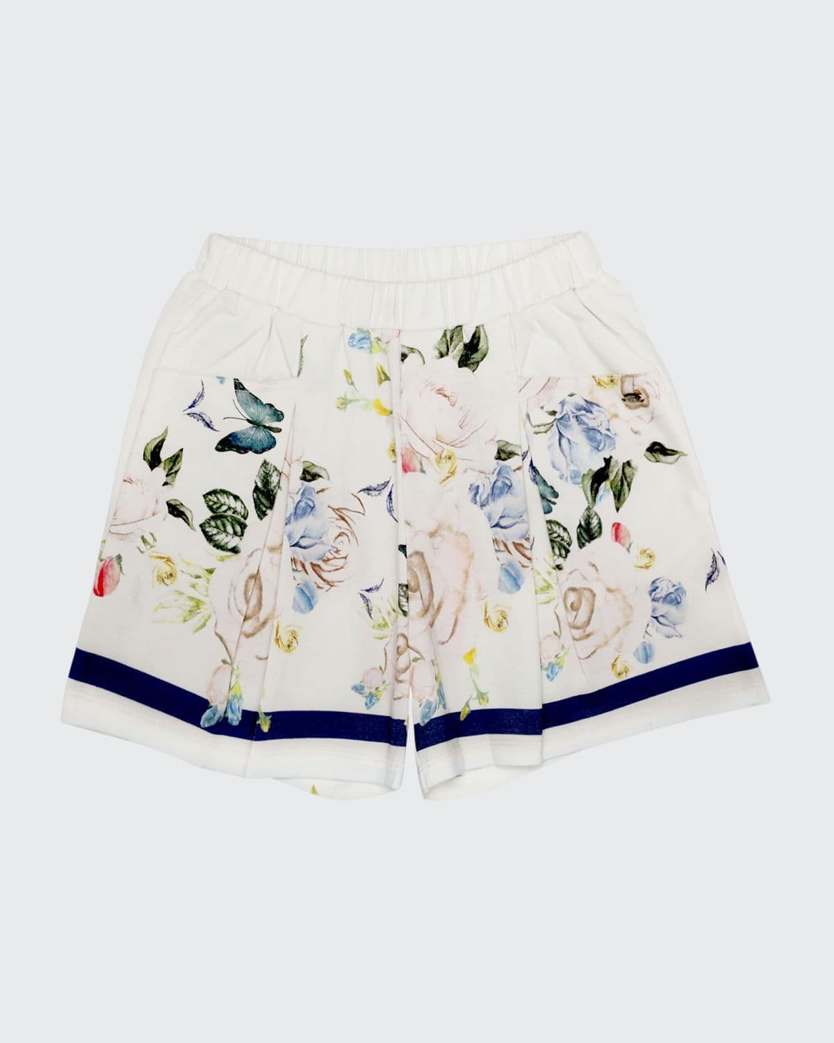 Girl's Butterfly & Floral-Print Pleated Shorts