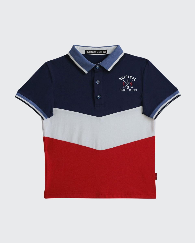 Boy's Embroidered Logo Colorblock Polo Shirt