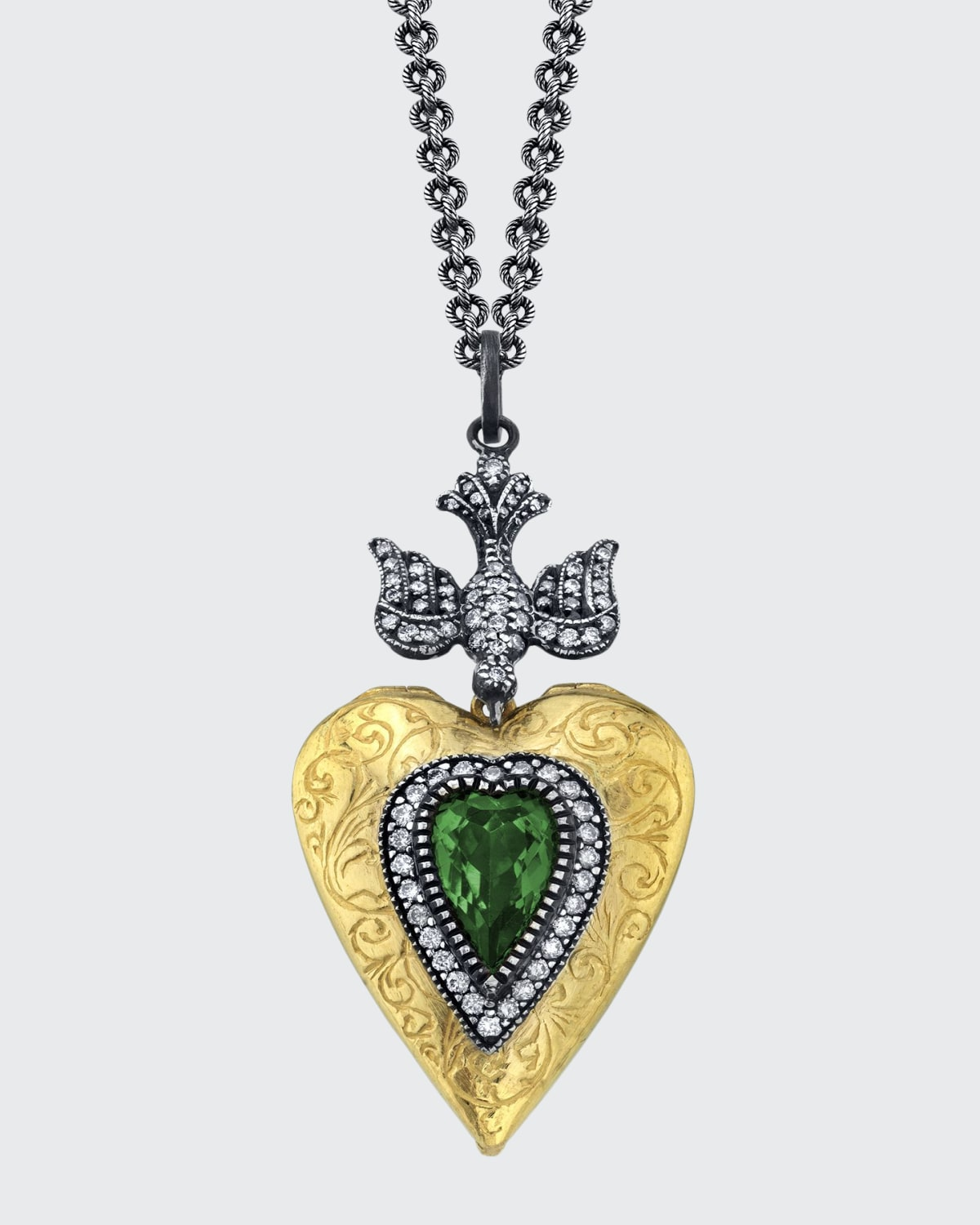 Engraved Heart and Emerald Locket Necklace