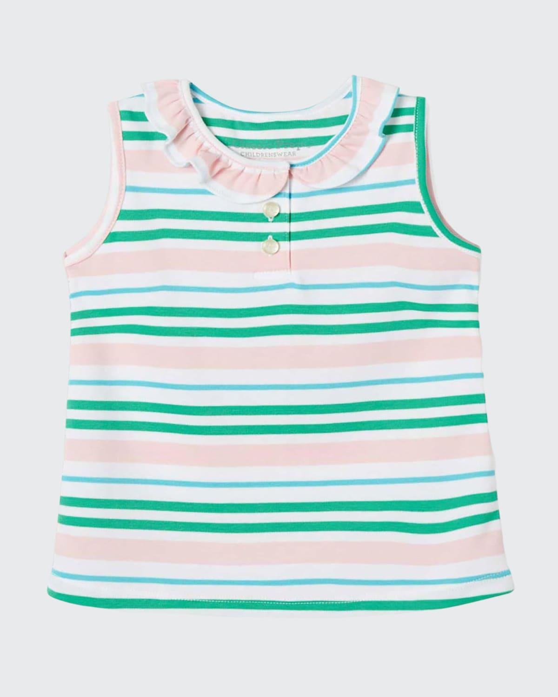 Girl's Zoe Striped Ruffle Sleeveless Shirt