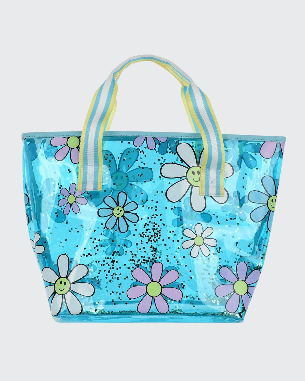 Girl's Daisy-Print Glitter Clear Tote Bag