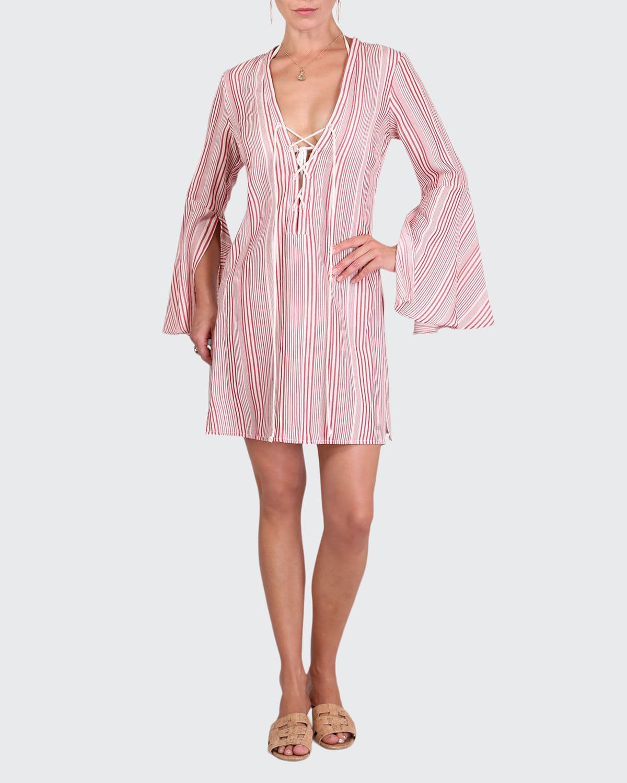 Logan Nantucket Stripe Mini Coverup Dress