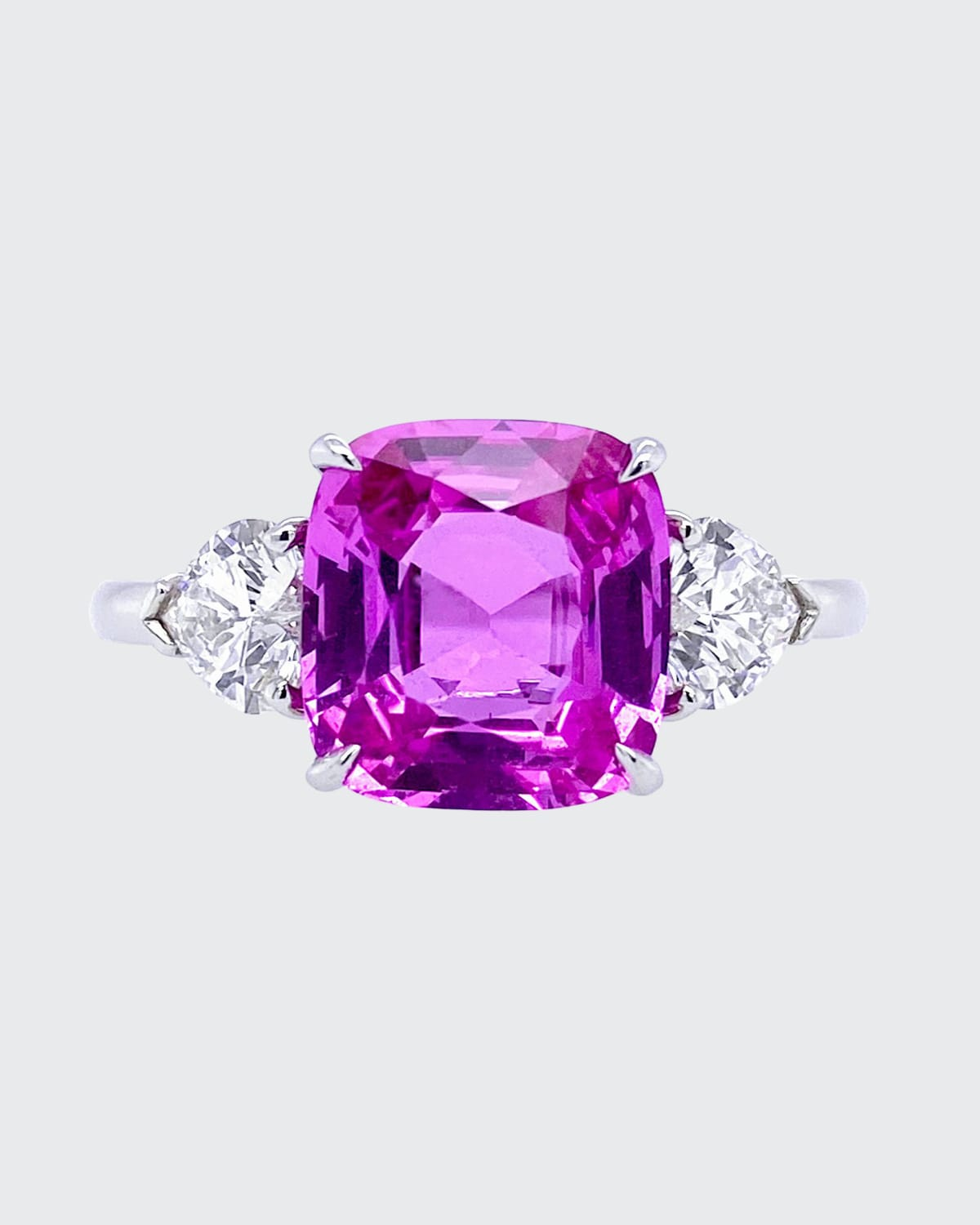 Cushion Natural Pink Sapphire and Diamond Ring