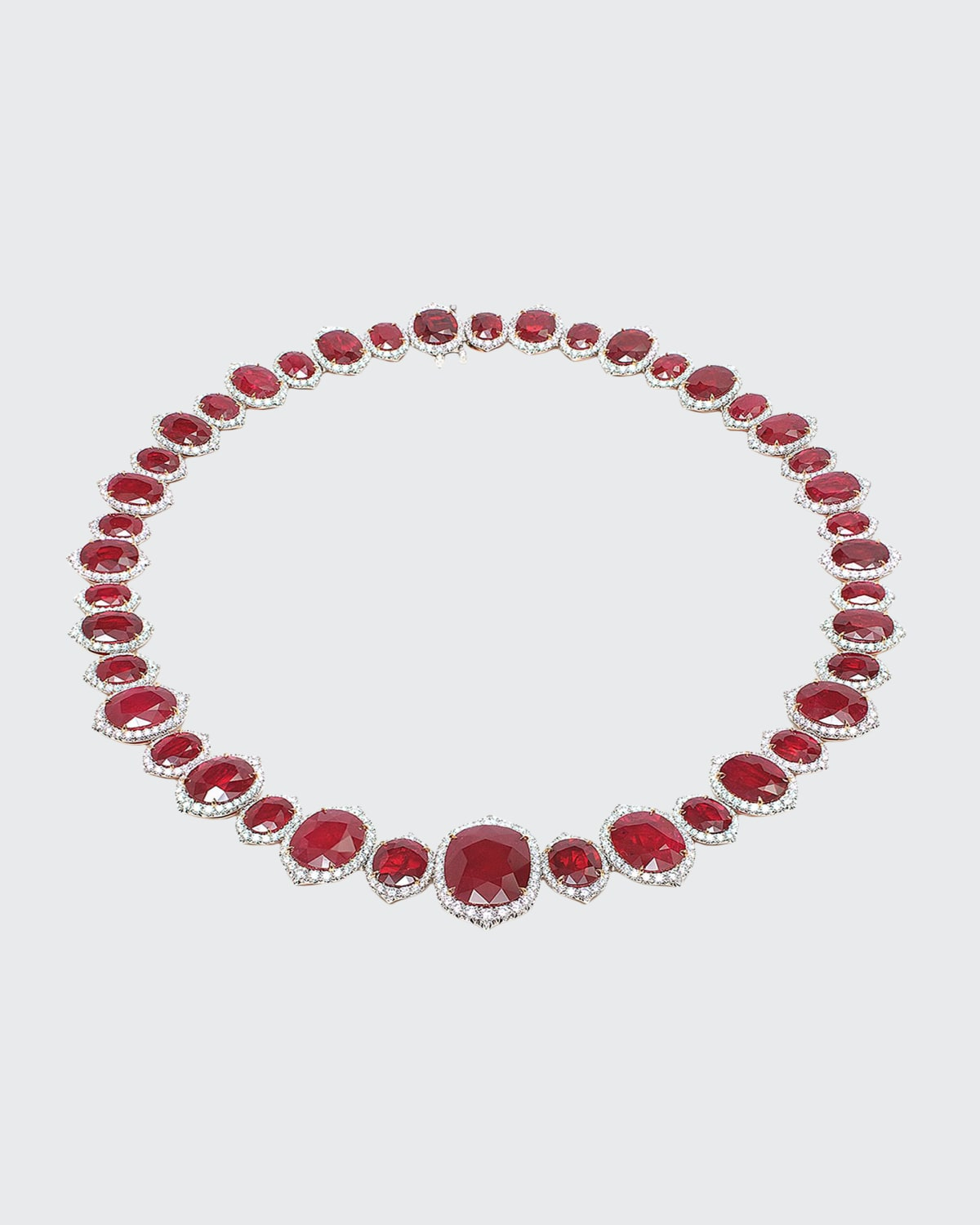 Oval Mozambique Ruby and Diamond Necklace