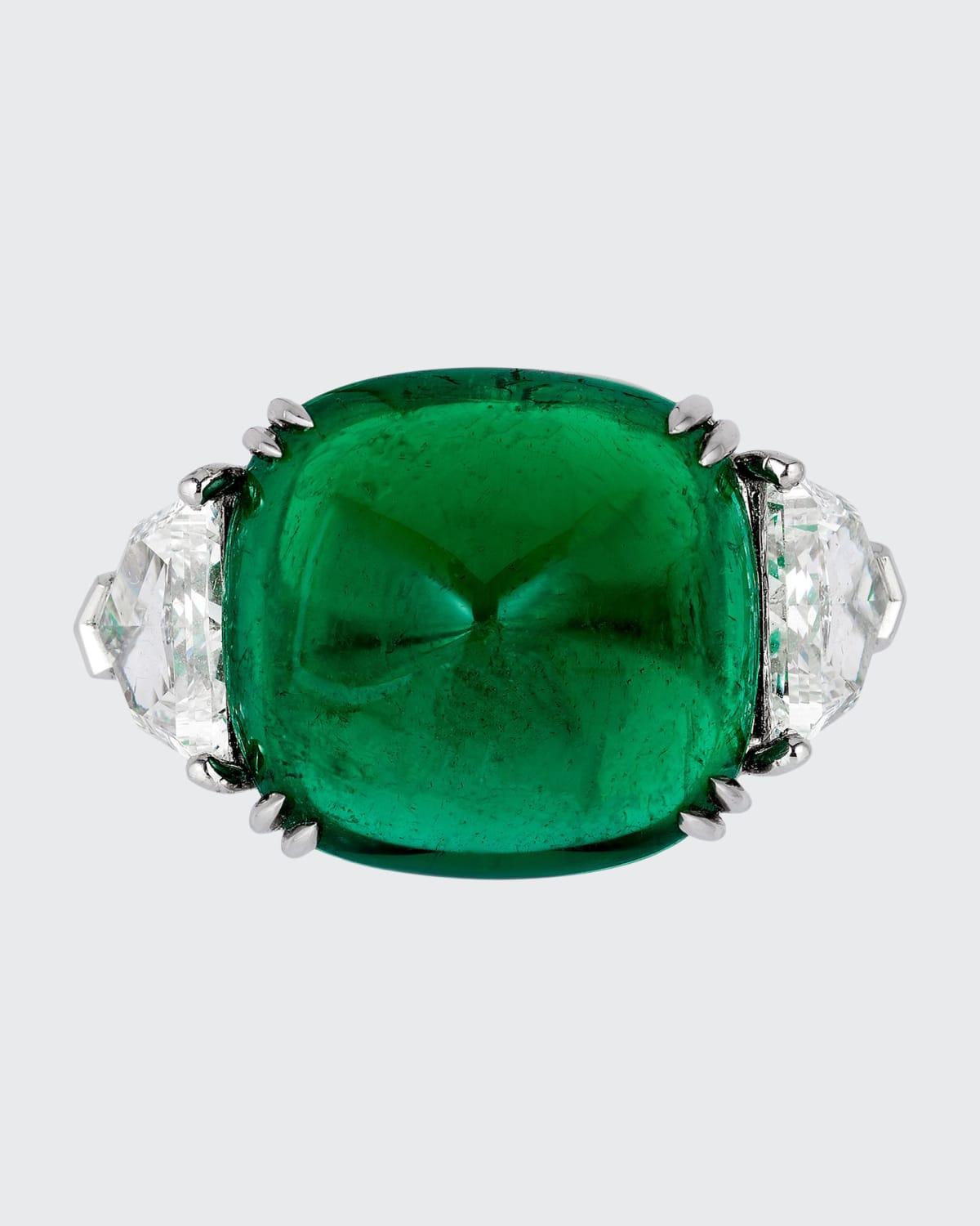 Sugarloaf Cabochon Colombian Emerald and Diamond Ring