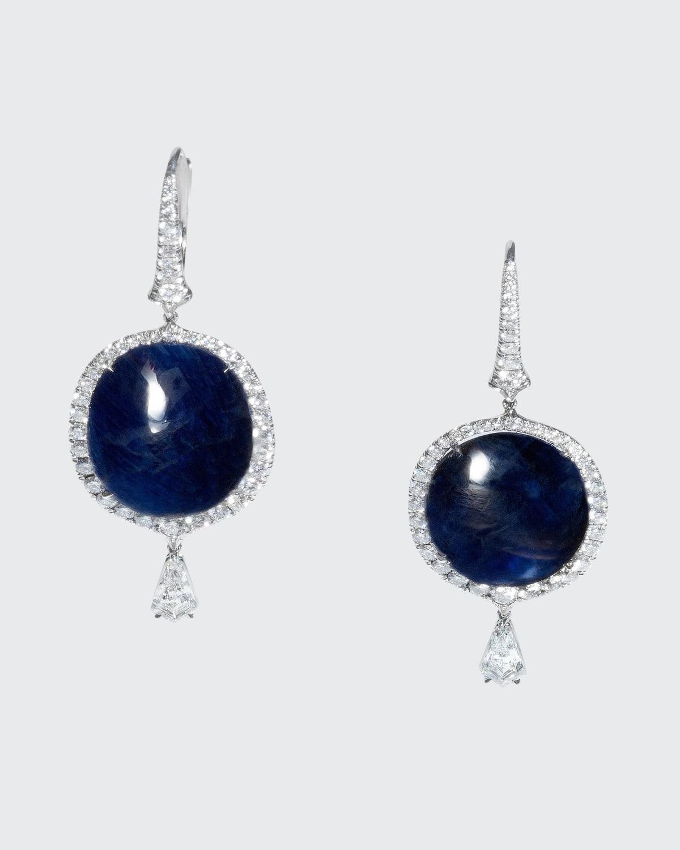 Cabochon Natural Burma Sapphire Drop Earrings with Diamonds