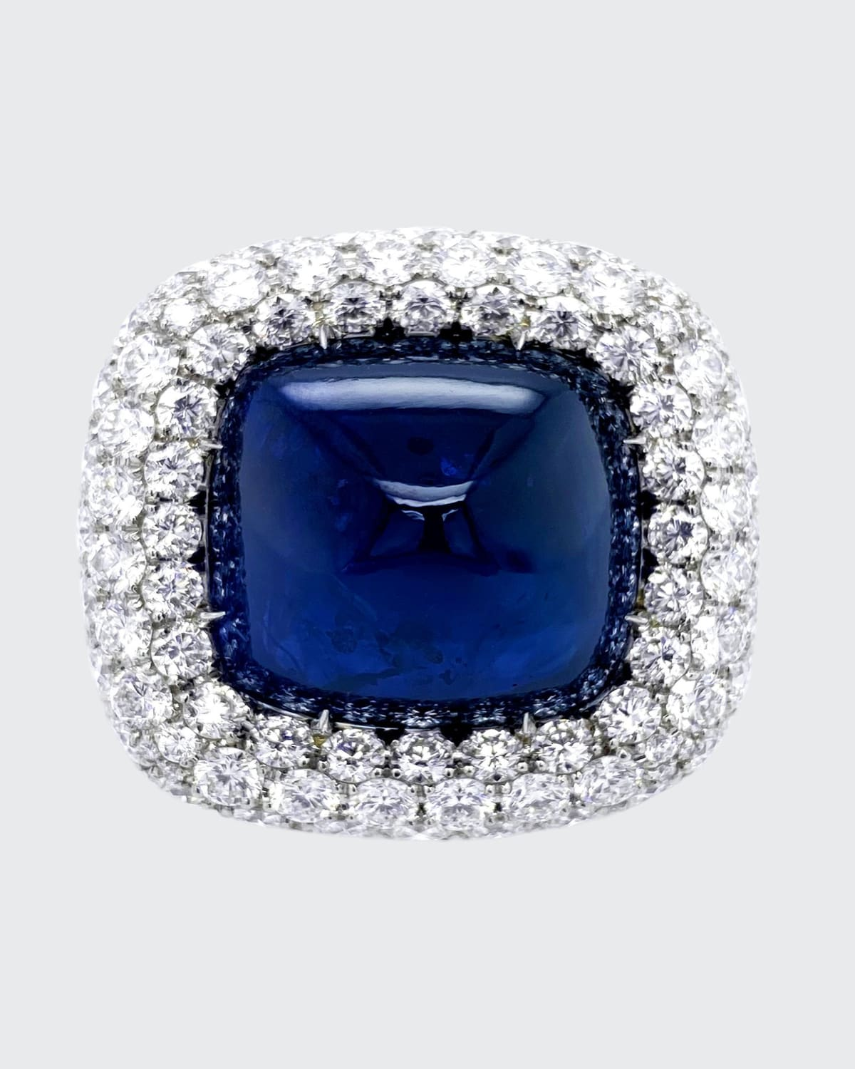 Sugarloaf Cabochon Sapphire and Diamond Ring