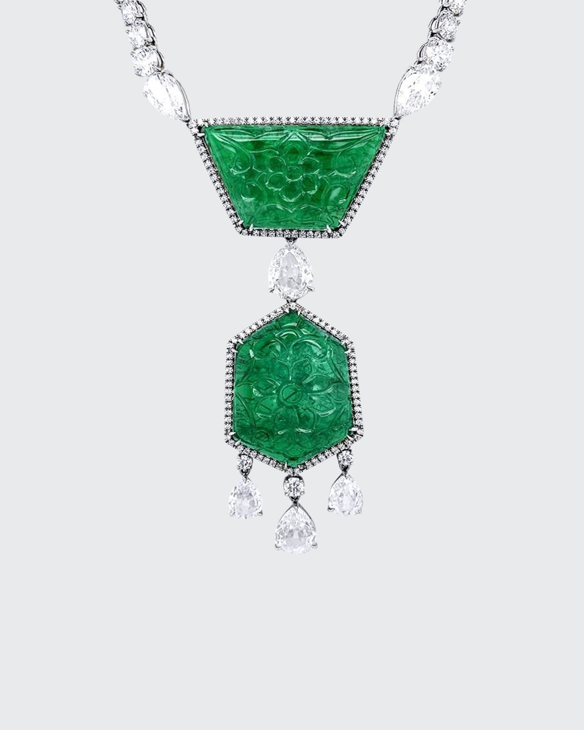 Carved Zambian Emerald and Diamond Necklace