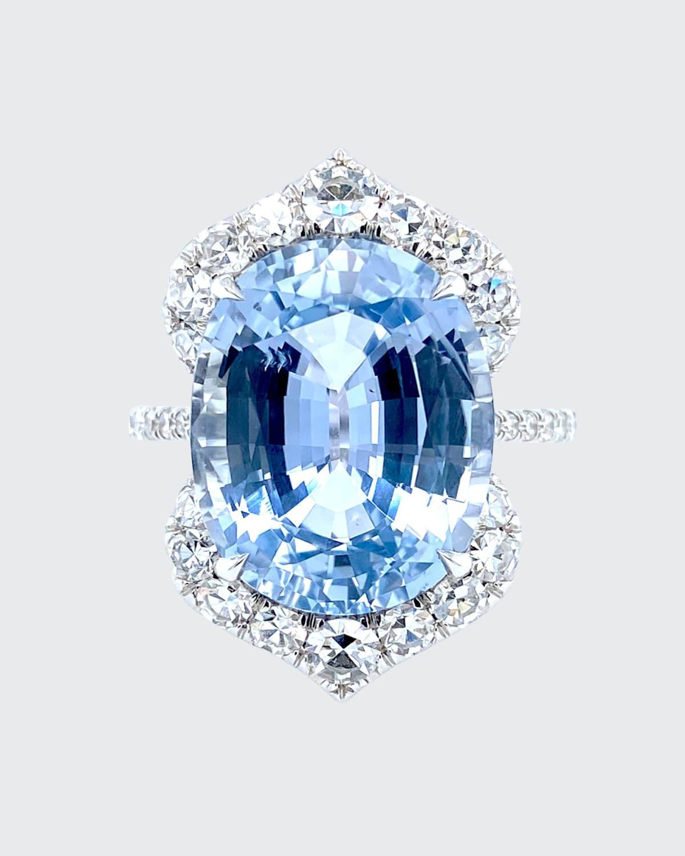 Oval Natural Burma Sapphire and Diamond Ring