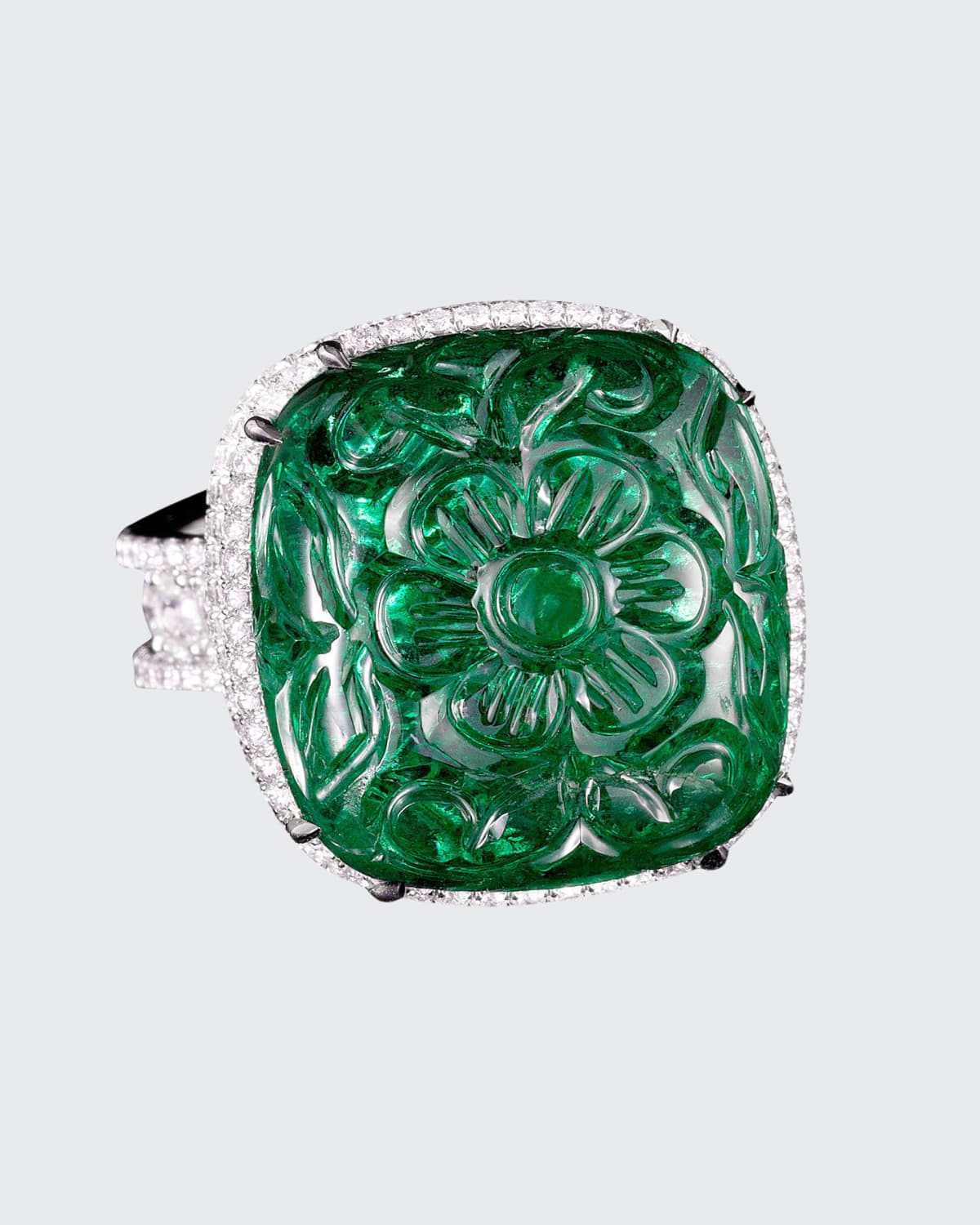 Carved Zambian Emerald and Diamond Ring