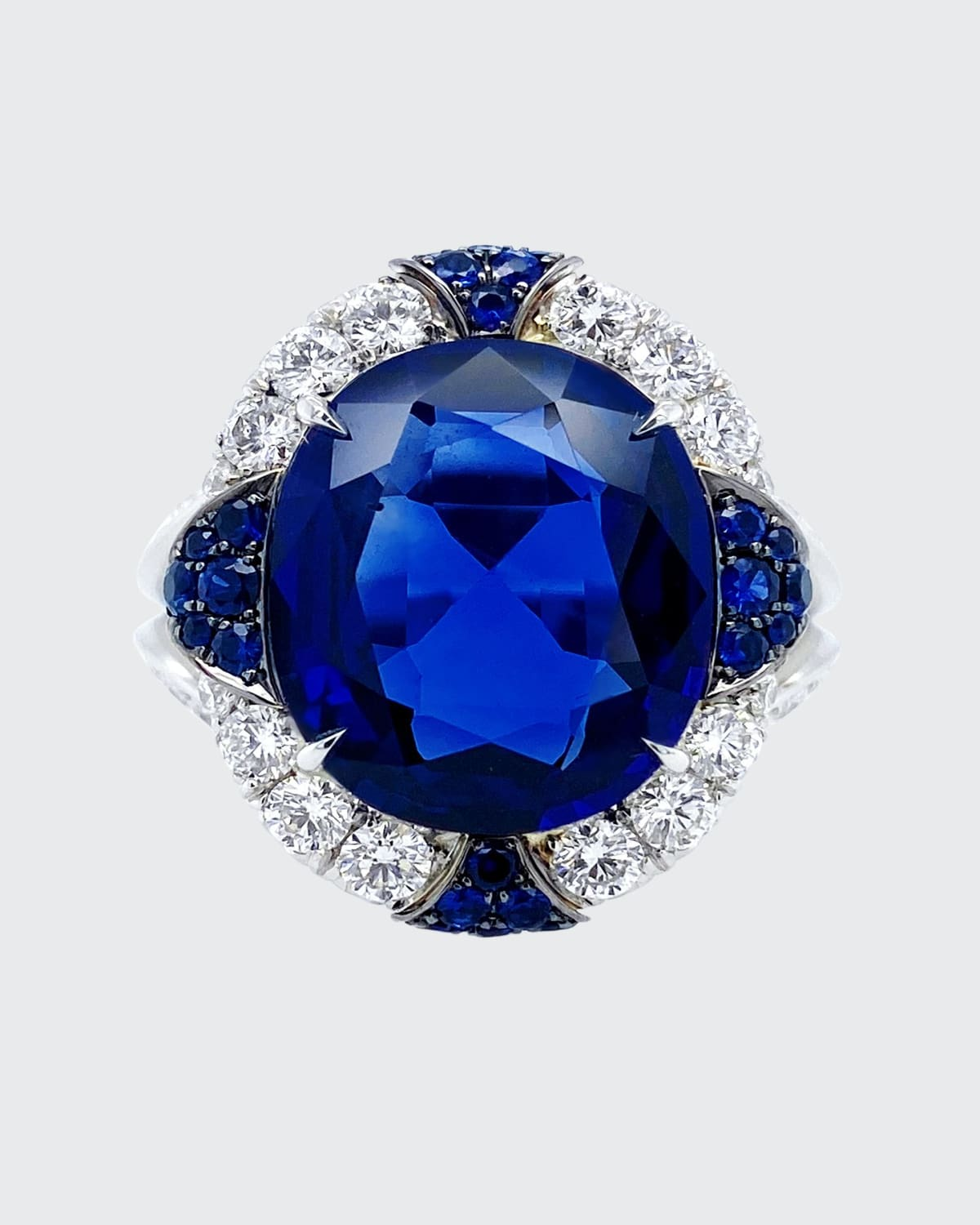 Oval Natural Royal Blue and Ceylon Sapphire Ring with Diamonds