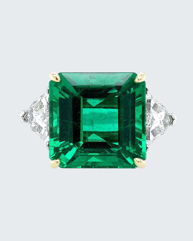 Zambian Emerald and Two-Diamond Ring