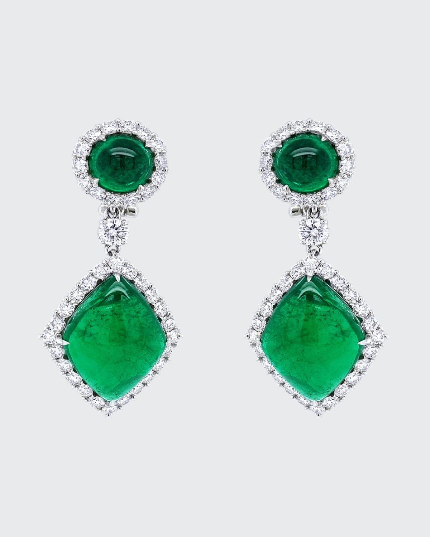 Cabochon Zambian Emerald Drop Earrings with Diamonds